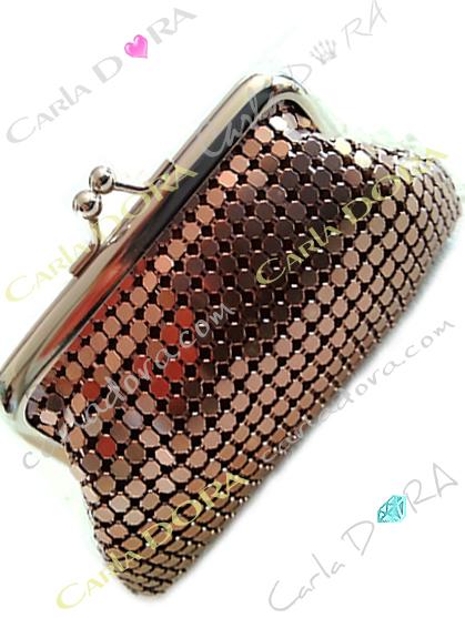 porte-monnaie cote de maille metal fluide marron glace porte monnaie femme mode petite maroquinerie tendance femme