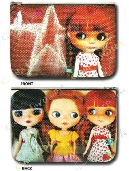 pochette poupee trio rousse et brune, petite pochette femme poupee cheveux roux et cheveux noir brun