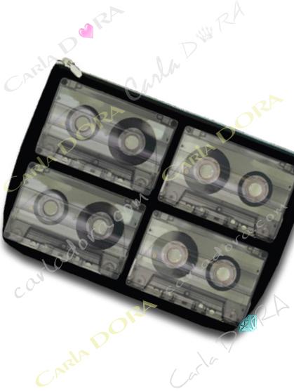 pochette cassette vintage k7 bande magnetique, petite pochette k7 bande magnetique ancienne cassette