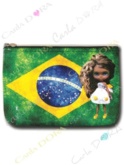 pochette poupee bresilienne drapeau bresilien, petite pochette femme poupee drapeau bresil