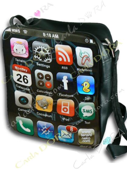grand sac bandouliere ecran accueil iphone, sac a main ecran i-phone