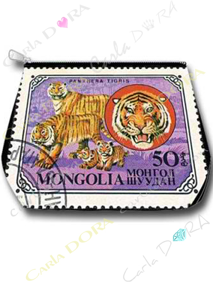 trousse tigre mongolie timbre vintage felin, trousse animaux de montgolie trousse animal tigre