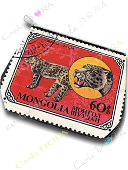 trousse leopard sur timbre de mongolie vintage, trousse animal mongolie leopard