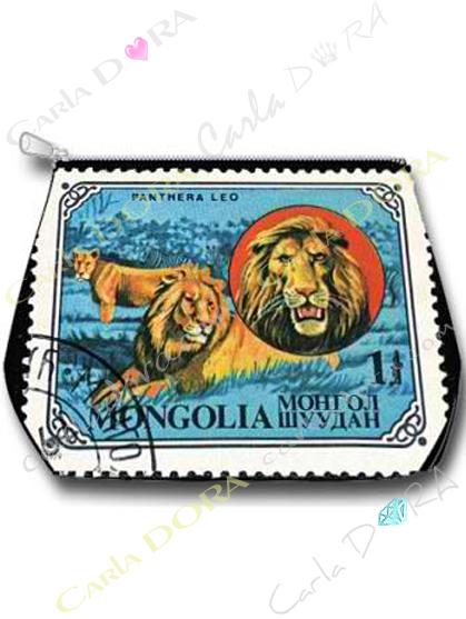 trousse grands felins lion timbre vintage, trousse lion felin animal vintage