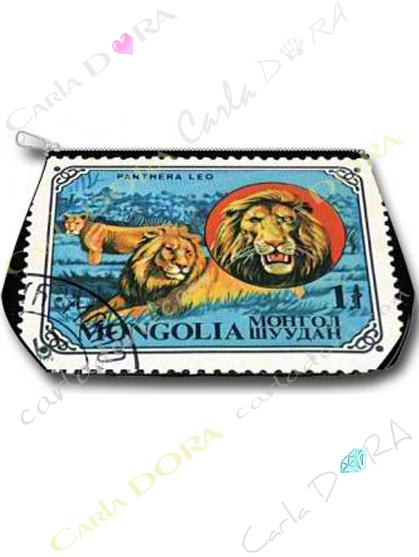 trousse de toilette lion timbre de collection, trousse toilette timbre de collection