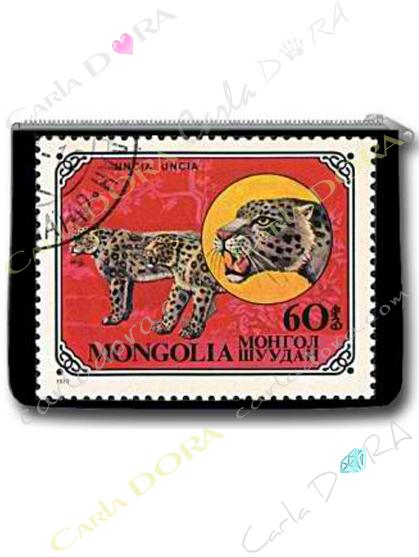 porte-monnaie leopard timbre vintage, porte-monnaie imprime animaux de mongolie