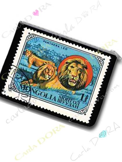 porte-monnaie imprime animaux de mongolie lion, porte-monnaie tendance imprime animal lion