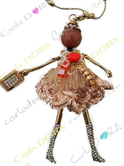 sautoir collier fantaisie poupee paillettes or, collier sautoir poupee tendance