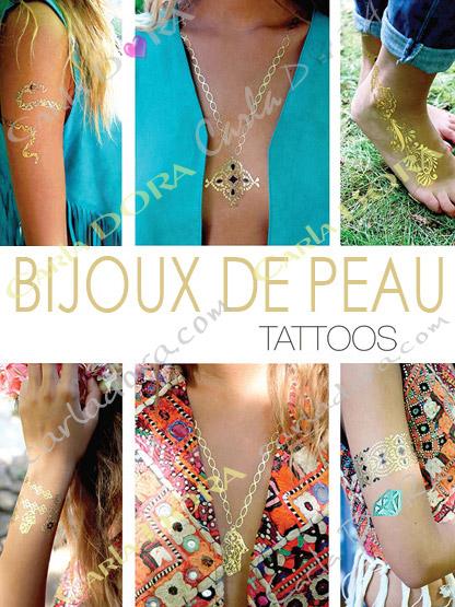 tatouage ephemere bijou de peau tatoo couleur or, tatouage temporaire pour mariage ou soiree