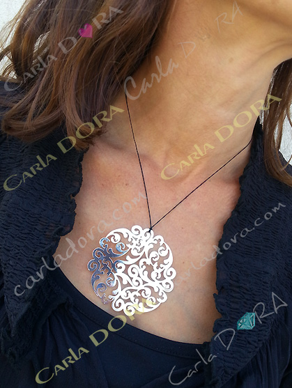 collier fin pendentif arabesque argent ultra plat