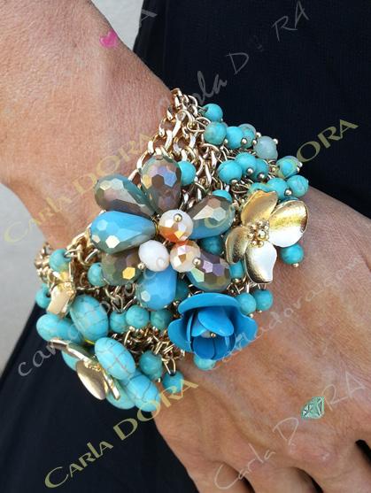 bracelet femme turquoise pampilles perles taillees et cristal -bracelet tendance femme bijou femme hippie chic
