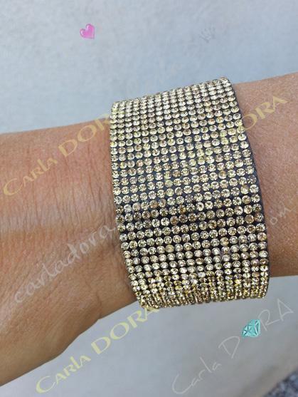 bracelet de soiree strass champagne dore, mode bracelets bijoux strass tendance fermeture aimantee