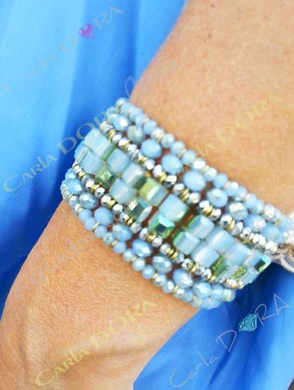bracelet femme manchette bleu elastique 8 rangs cristal et perles