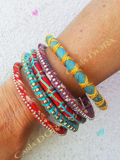ensemble de 5 bracelets ethniques en tissu