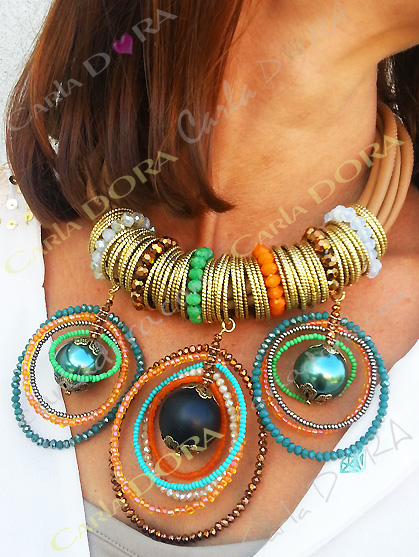 collier fantaisie femme ras du cou perles et anneaux, bijou fantaisie collier original