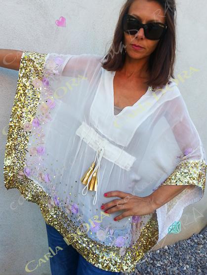 tunique femme hippie chic 65cm a capuche brodee et paillettes, tunique femme originale