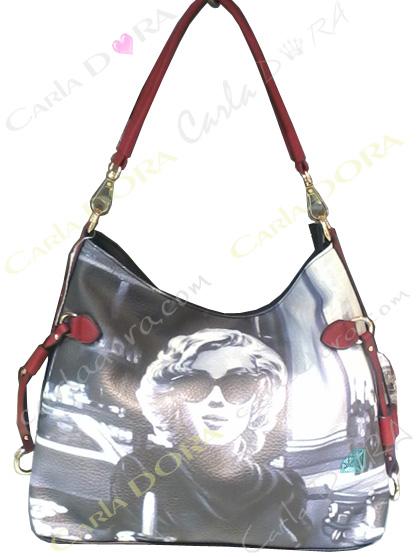 sac a main pour femme imprime marilyn monroe noir blanc et rouge