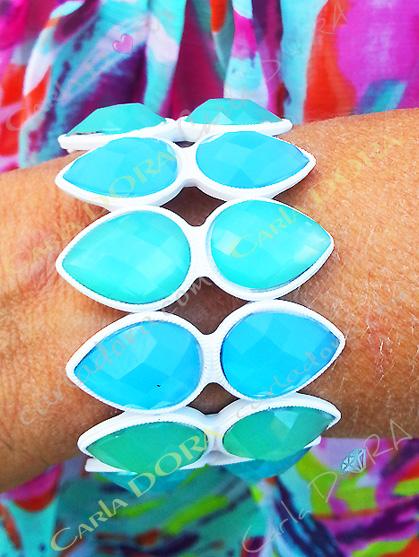 bracelet femme elastique cabochons forme goutte bleu turquoise