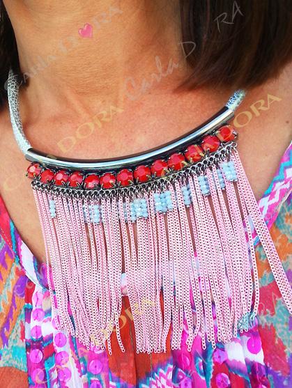collier ras du cou pampilles chaines bijou fantaisie femme