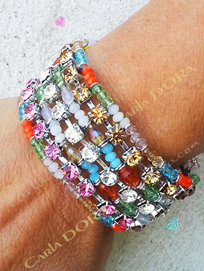 bracelet hippie chic perles cristal et strass multicolores