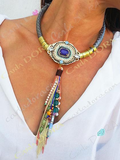 collier fantaisie ras du cou chaines pampilles multicolores