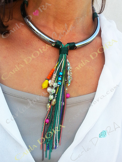 collier fantaisie femme ras du cou chaines pampilles multicolores