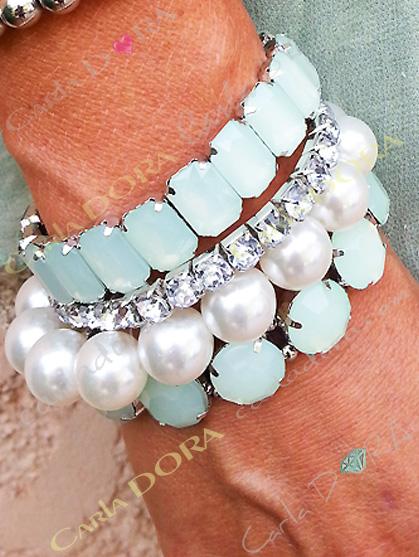 ensemble de 5 bracelets perles de culture strass cabochons