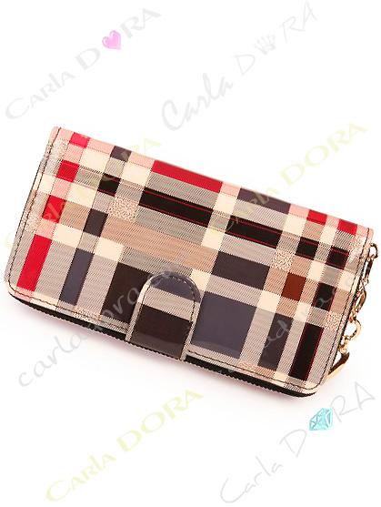 portefeuille femme motif tartan style ecossais, portefeuille tout en un verni femme