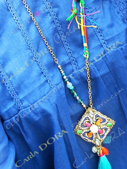 sautoir collier losange hippie chic bleu