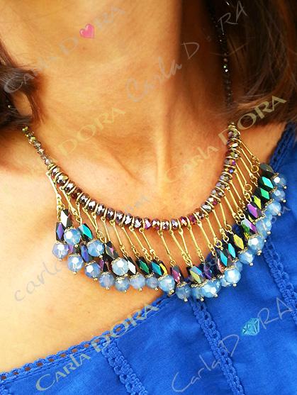 collier ras du cou pampilles perles cristal
