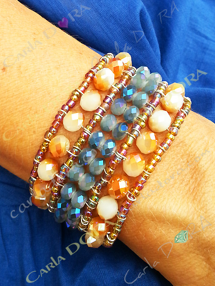 bracelet fantaisie femme perles cristal irise