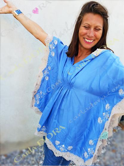 tunique femme hippie chic 65cm a capuche satin et dentelles, tunique femme mode