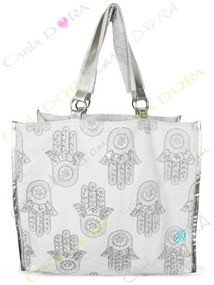 sac a main ethnique cabas blanc argent main fatma, sac ethnic main de fatma porte epaule blanc pour shopping