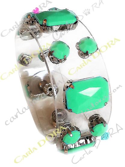 bracelet vinyle transparent cabochons vert d