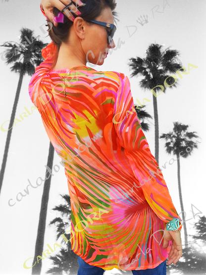 tunique femme voile corail motif palmier flamboyant, top femme tunique plage a la mode