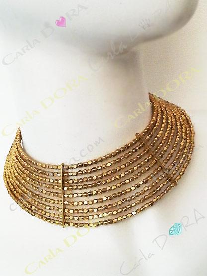 collier ras de cou rigide metal martele or, collier ras du cou femme ajustable