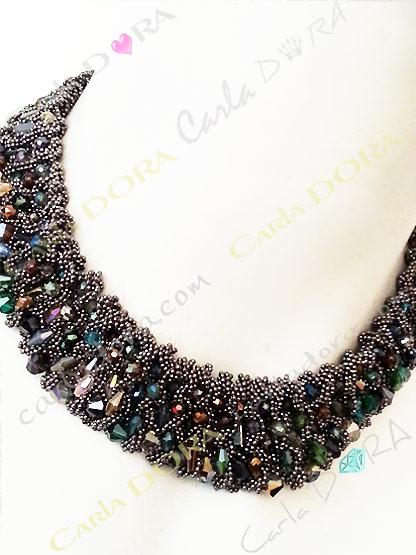 collier ras du cou perles cristal multicolores et chaine argent fonce - bijou femme elegant et chic