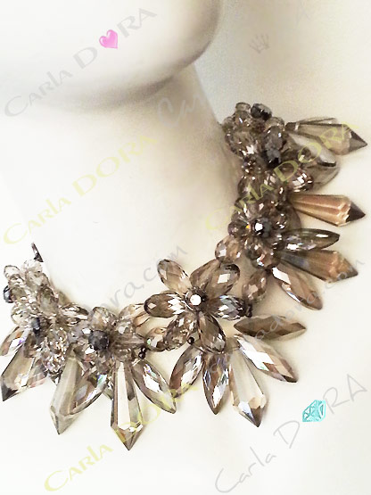 collier ras du cou cristal transparent - bijou femme cristal elegant et chic