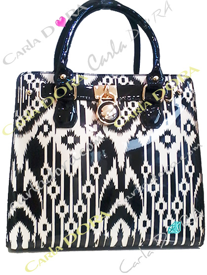 sac a main noir et blanc graphique brillant pour femme chic
