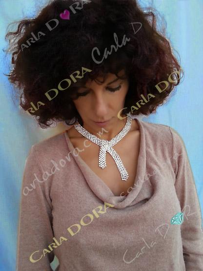 collier bijou ras de cou souple 5 rangs de strass argent, collier ras du cou femme