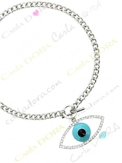 bijoux fantaisie collier contre mauvais oeil strass, bijou fantaisie femme oeil bleu turquoise strass