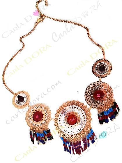 collier femme fantaisie rosaces cuivre et argent collier rosaces pampilles