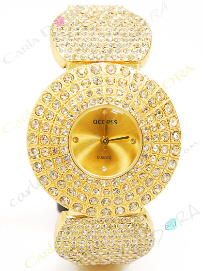 montre bijou ronde fantaisie metal or et cristal, montre bijou femme fantaisie de soiree