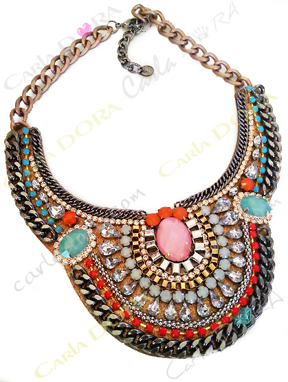 collier fantaisie plastron de soiree strass et cabochons, bijou fantaisie femme mode ultra chic