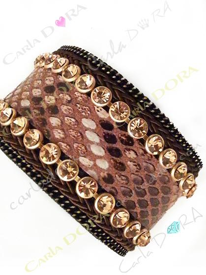 bracelet manchette python strass champagne, bracelet imprime serpent chic strass