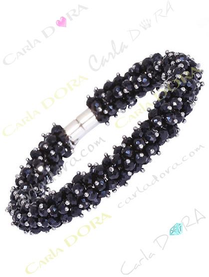 bracelet aimante perles a facettes noires, bracelet fermeture aimant