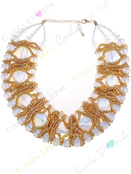 collier de soiree ultra chic noir et transparent, collier ras du cou cristal