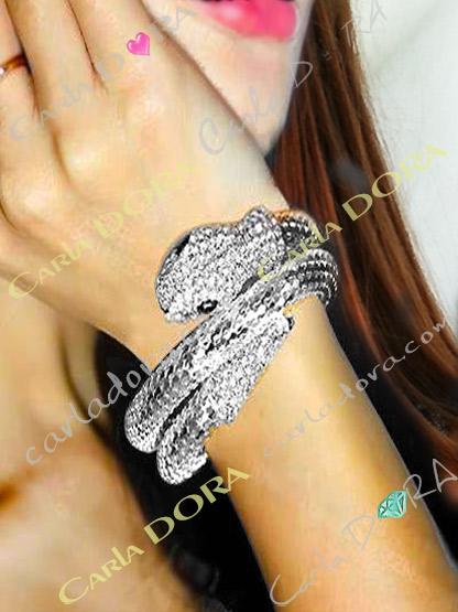 bracelet serpent argent strass bijoux fantaisie femme