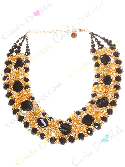 collier de soiree ultra chic noir et or, collier ras du cou cristal