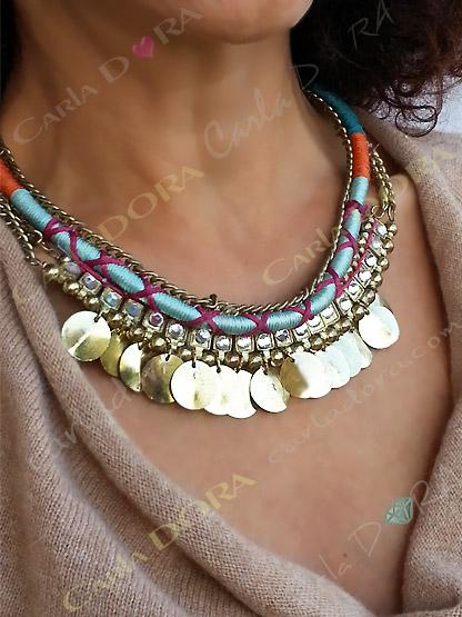 collier fantaisie femme ras du cou melange de matieres, bijou fantaisie collier original
